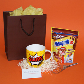 Nesquik hot chocolate present for boys, fun chocolate gifts for him, gift ideas for young boys, get well gift ideas for boys