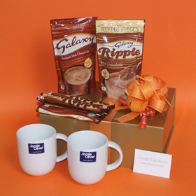 Galaxy hot chocolate gift hampers with Jamie Oliver mugs UK, Galaxy Ripple hot chocokate drink, Galaxy Caramel chocolate drinkGalaxy presents delivered, chocolate pampering hamper gifts, chocolate pampering gifts delivered