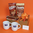 Galaxy hot chocolate gift hampers with Jamie Oliver Comfy Cups UK, chocolate presents delivered UK, chocolate pampering gifts delivered