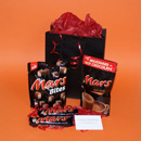 Mars Bar chocolate selection gift for him, small get Maltesers gifts, mini chocolate gifts for men, boys Teasers gifts UK delivery