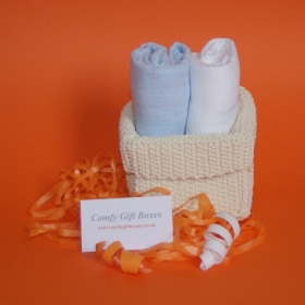 Baby boy muslin gift baskets, small new baby boy gifts online, baby gift baskets, baby presents UK, small baby boy congratulations gifts, mini presents for babies, small new born baby gifts delivered