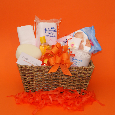 New baby gift baskets UK, new baby gift basket delivered, gift baskets for new babies, new baby congratulations gifts, gift basket ideas for new baby baskets, Johnsons® baby gift selections
