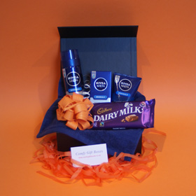 Cadbury chocolate Nivea pamper gifts for men, chocolate gift ideas for men UK, male chocolate Nivea pampering presents UK