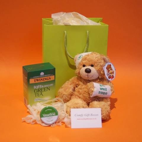 Get well gift hampers, teddy bear get well soon gifts, how to cheer up a poorly friend, teddy get well soon gifts UK